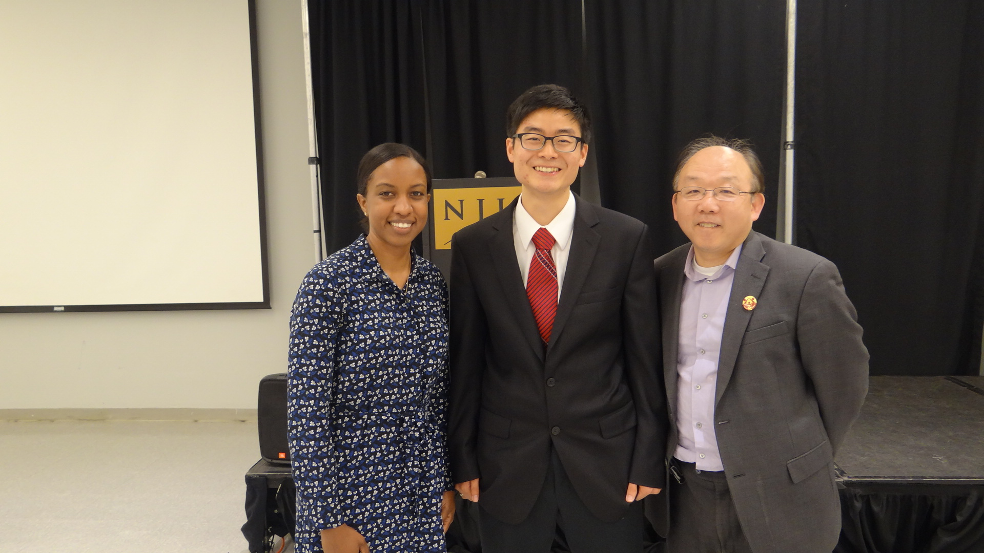 Keisetsu (middle) with Academic Advisor, Jasmine Howard, (left) and CARP NJIT Mentor, Atsushi Takino (right)
