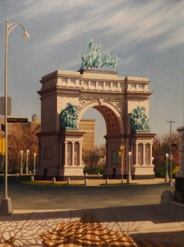 """"""" Grand Army Plaza, Brooklyn"""" - oil - 24""""x 18""""    This is one of my older plein air paintings, but another artist couldn't believe I didn't do it """"from a photograph""""."""