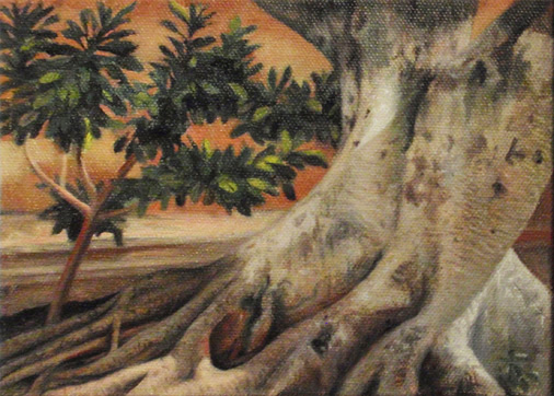 """Laurel Tree, Merida, Mexico"" - oil - 5""x 7""  Plein air painting"