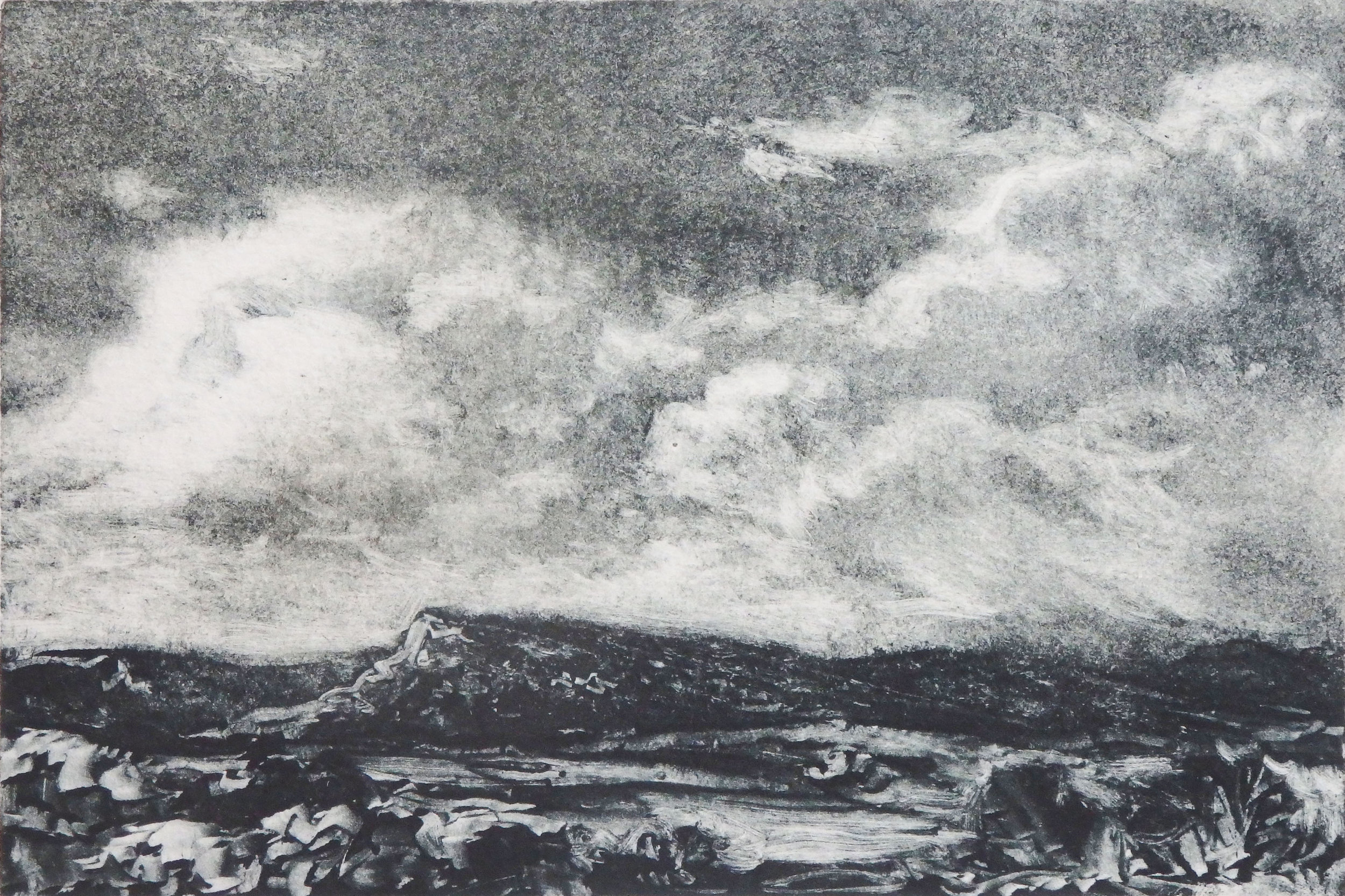 """Wyoming Afternoon""  - Monotype  -  4""x 6""      There's no doubt what the subject of this picture is, even if it is not highly detailed and leans probably more towards Impressionism than traditional Realism."