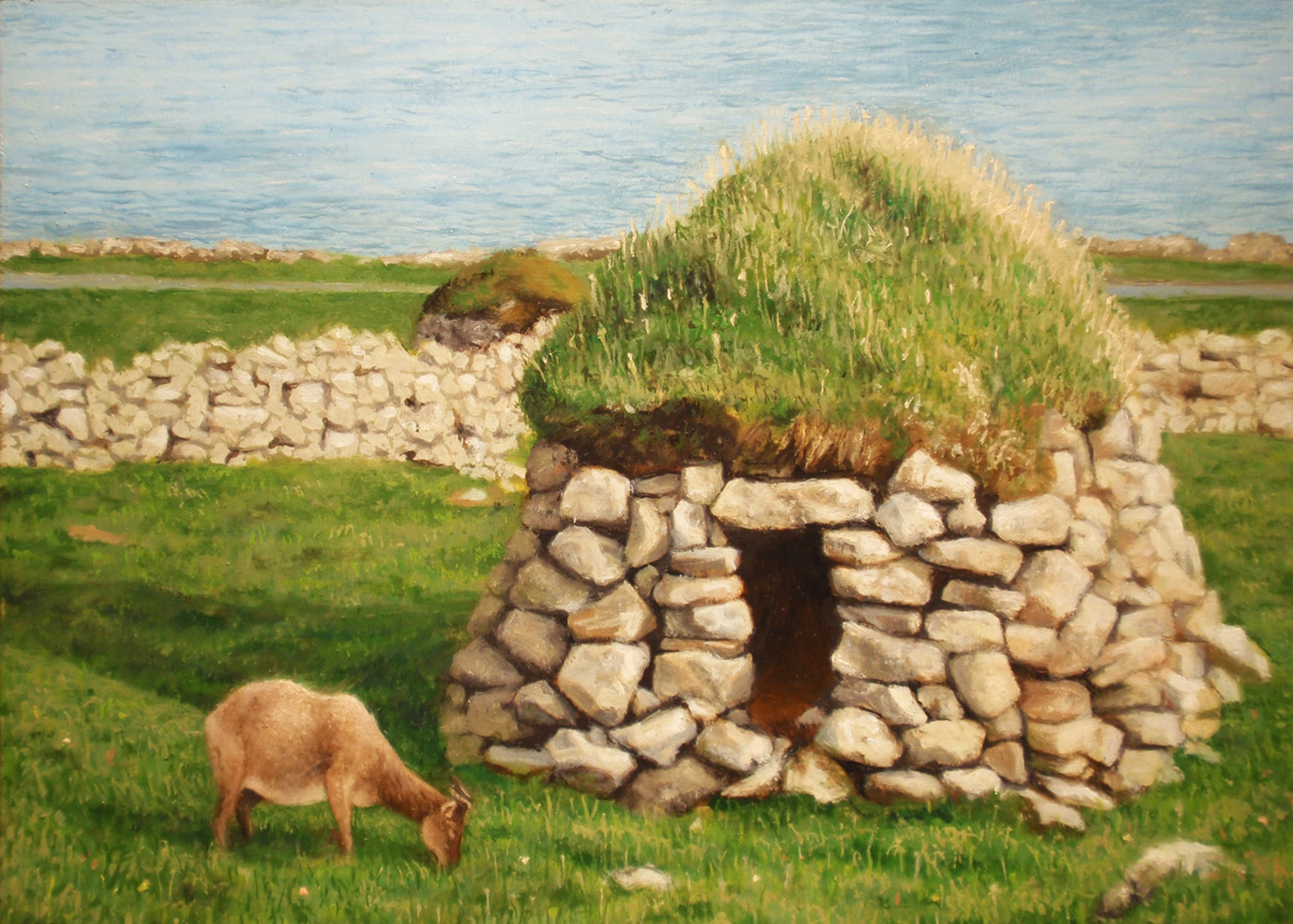 """""""Soay Sheep and Cleit""""  Oil 5""""x 7"""""""