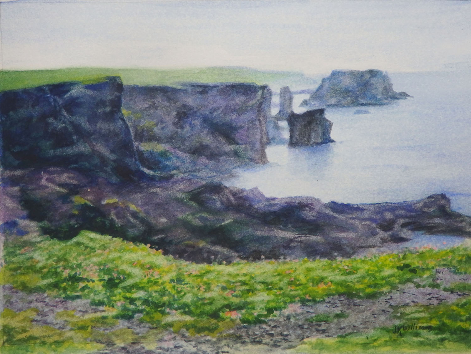 """Esha Ness, Shetland""                          X    Watercolor.     (During heavy seas the crashing waves hurl boulders weight tons up onto the cliffs of volcanic rock.)"