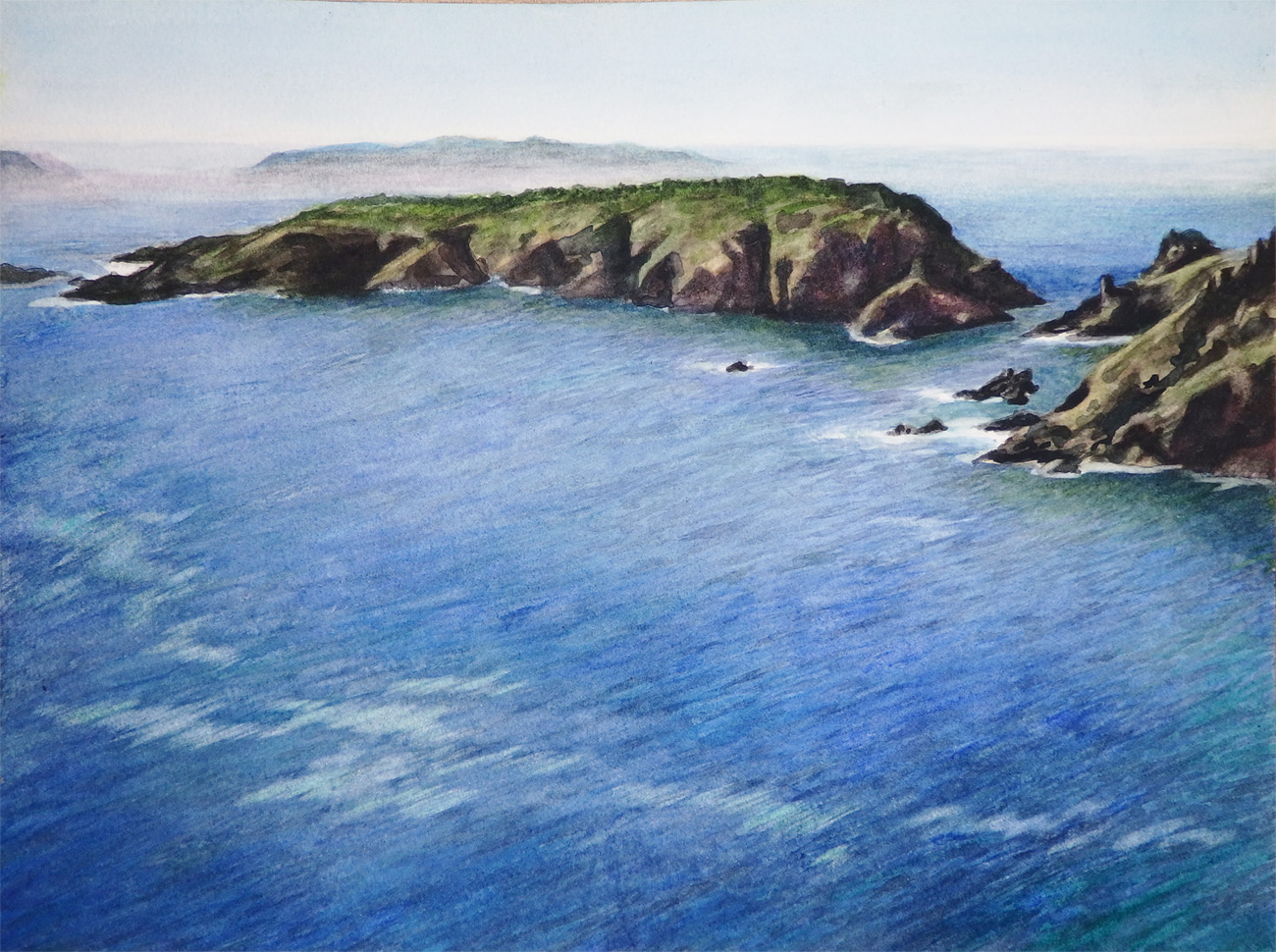 """""""View from Le Coupée, Sark"""" Watercolor 9"""" x 12"""""""