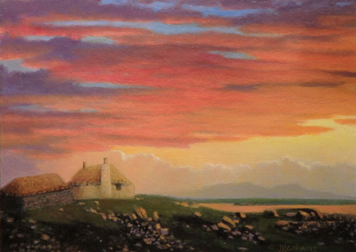 """""""Sunset by the Ferry House"""" Oil 5"""" x 7"""""""