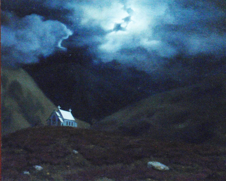 """Highland Church by Moonlight""  Oil 8""x 10"""