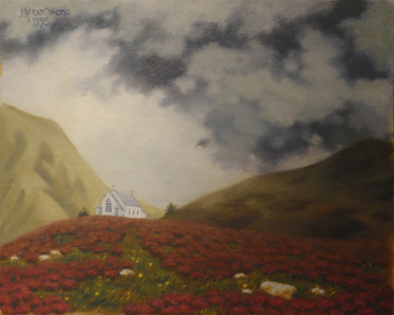 """Highland Church, Storm Approaching""  Oil 8""x 10"""