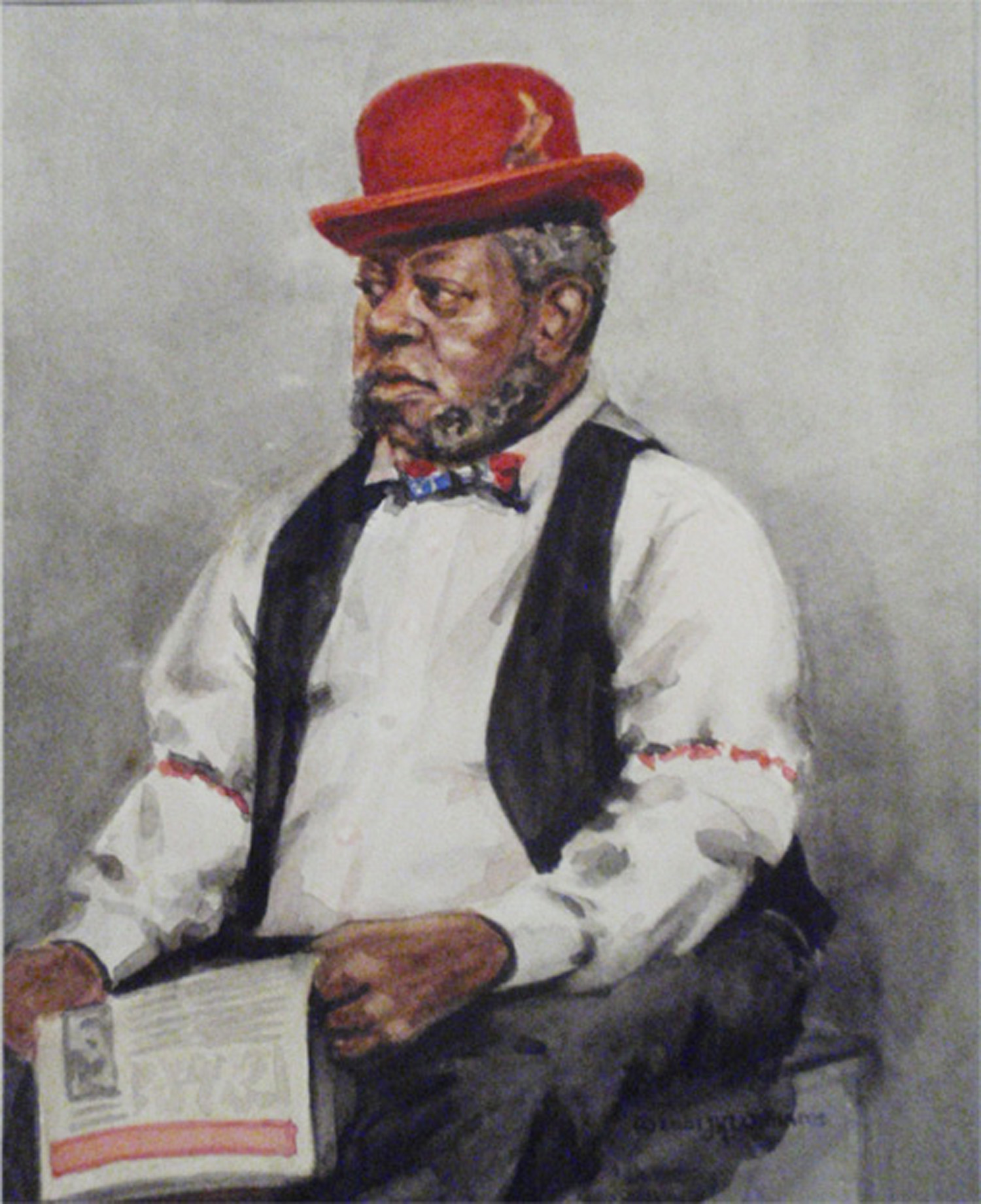 """The Red Bowler""   Watercolor   about 7 1/2"" x 6"""