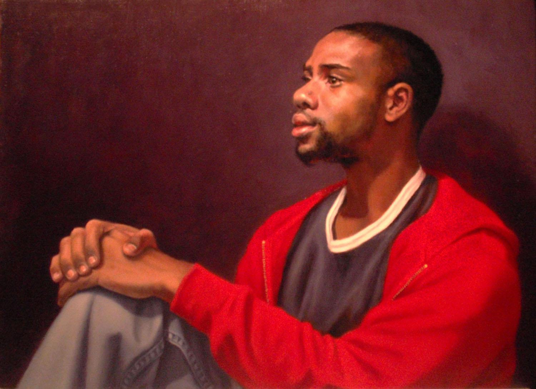 """The Red Sweatshirt""  Oil 12"" x 16"""