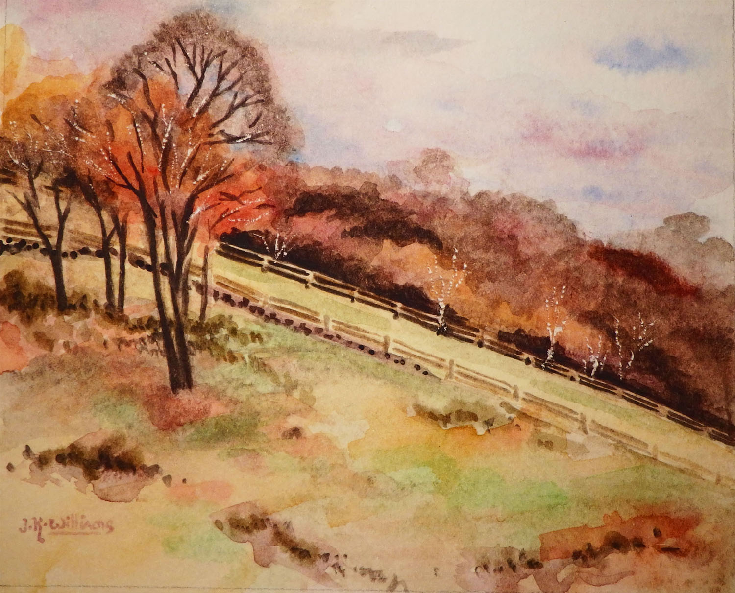 """Autumn Pastures""    Watercolor 4""x 5"""