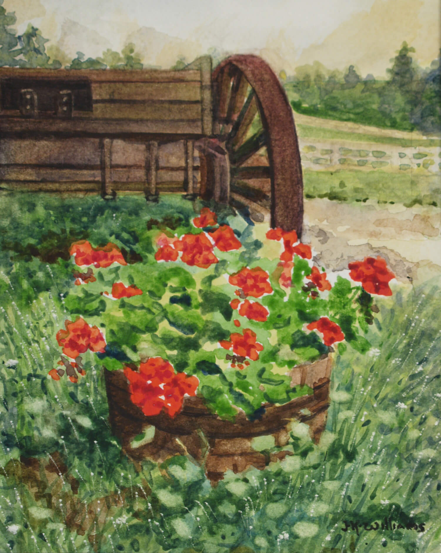 """Geranium Barrel""    Watercolor 6 1/8""x 4 7/8"""