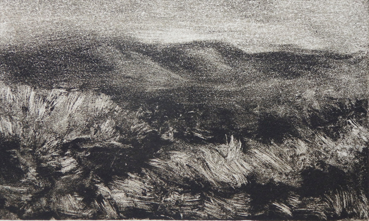 """After Sunset""    Monotype 2 3/4"" x 4 3/4"""