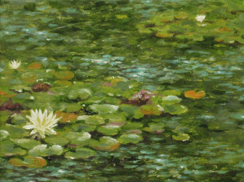 """""""Lily Pond""""    Oil 3 1/16""""x 4 1/16"""""""