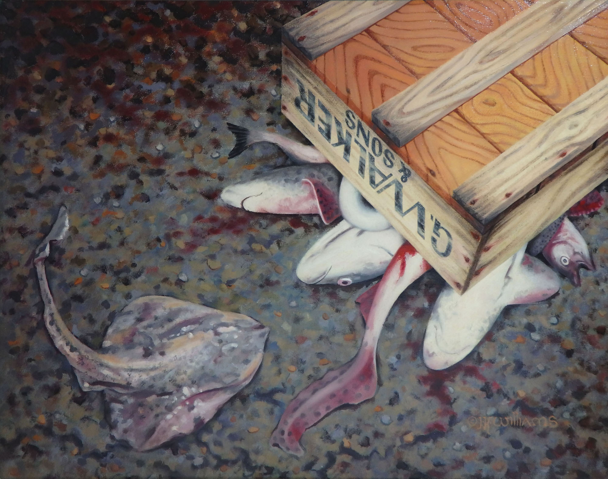 """""""Garbage Fish""""  Oil 12"""" x 16"""""""