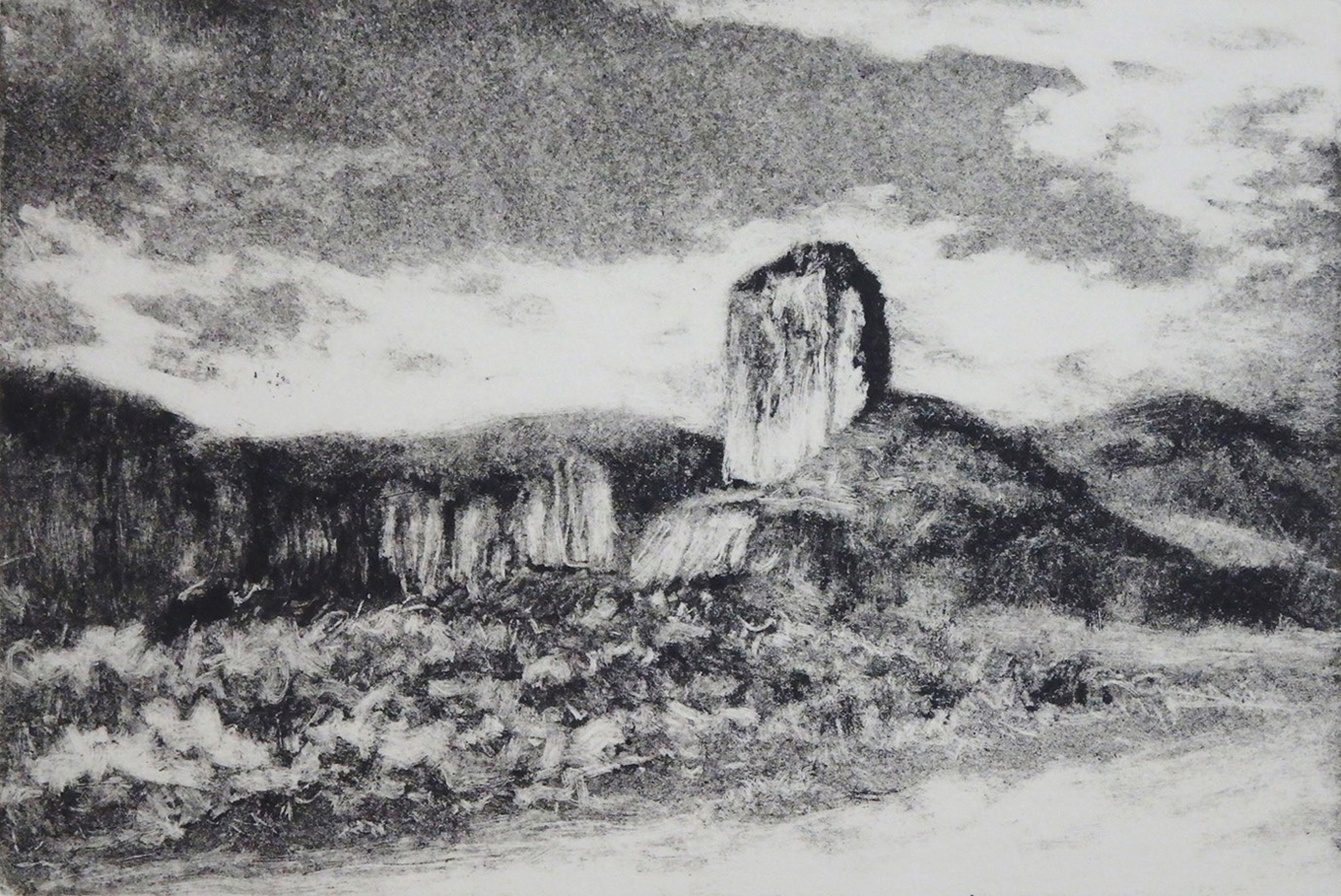"""Castle Rock""    Monoprint 4"" x 6"""