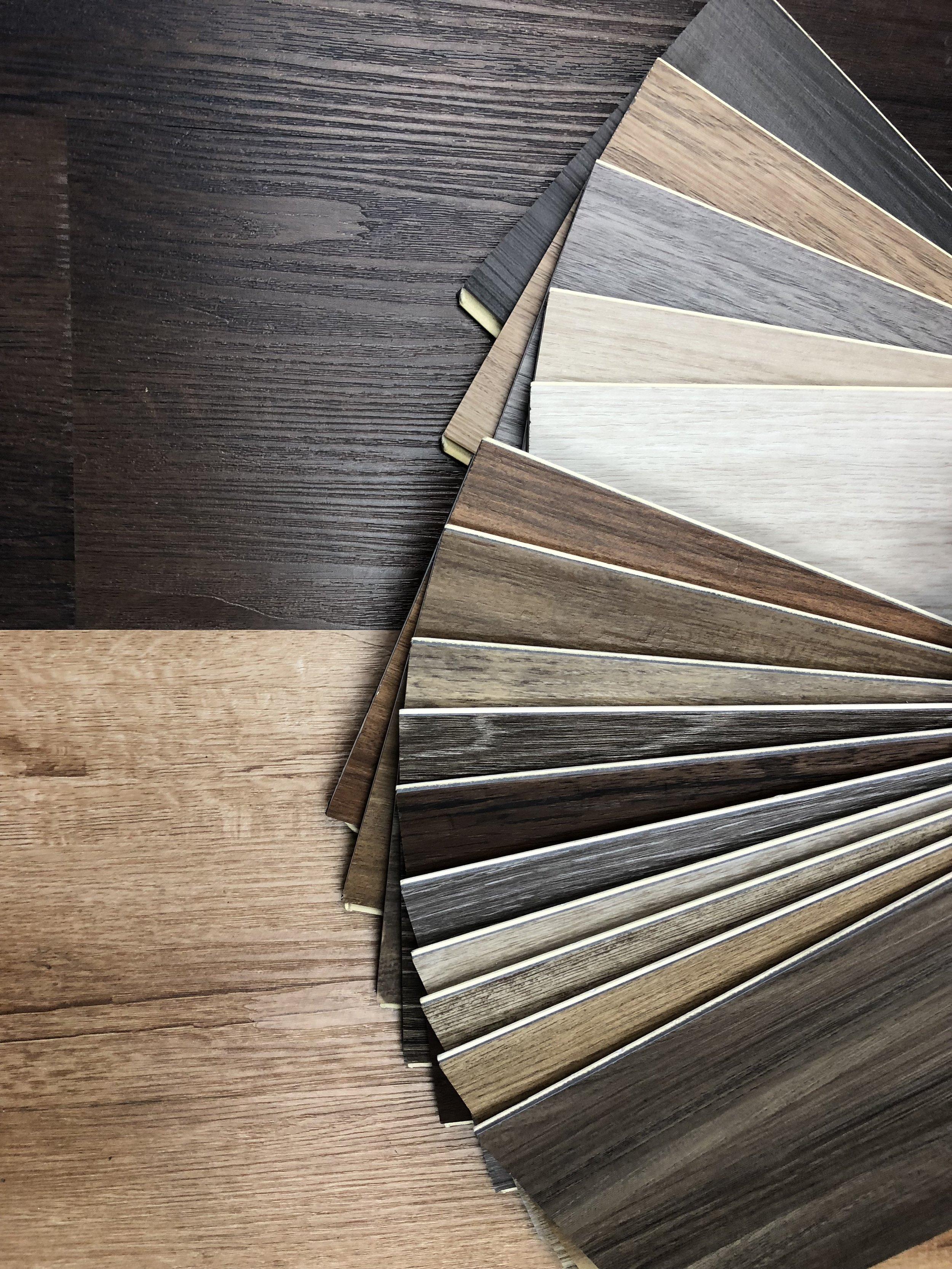 Faux wood flooring samples