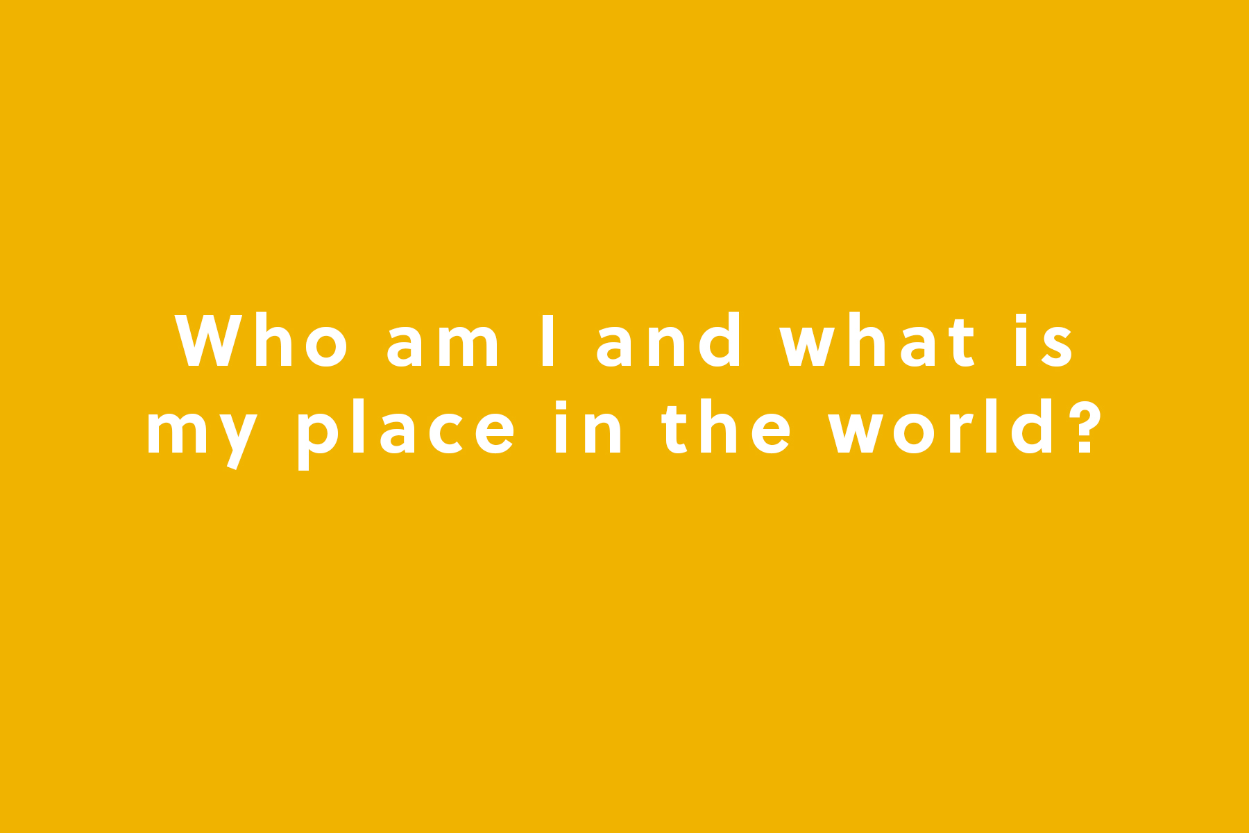 Who am I and what is my place in the world?