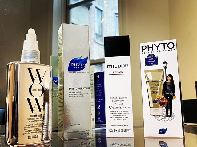 Nothing beats frizz like having a keratin treatment but if you prefer to remain natural these are my favorite repair, protectant, anti frizz/humidity, heat activated products. . . . . . #hairrepair #heatprotectant #heatactivated #WOWdreamcoat #phytodéfrisant #milbonblowoutprimer #Phytokératine  #healthyhair #madisonavesalon  #mahoganygracesalon #hairbymahoganygrace