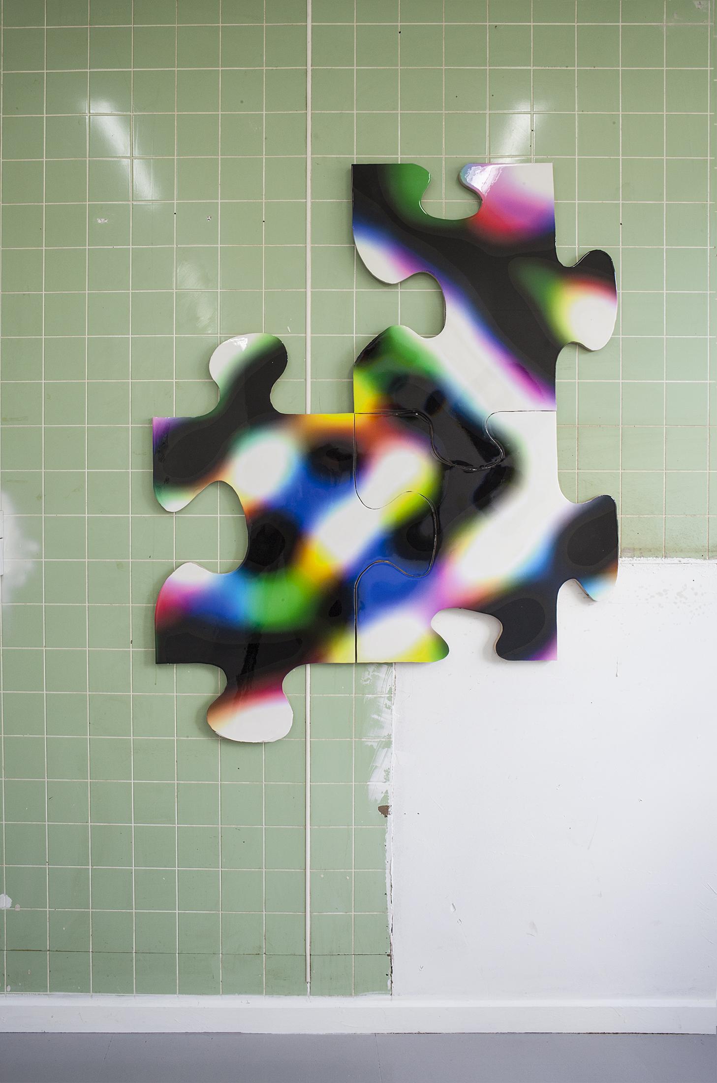 Dr. Boom ( 1,2,3) MDF, masonit, inkjet print, pigment, kasein, epoxy.