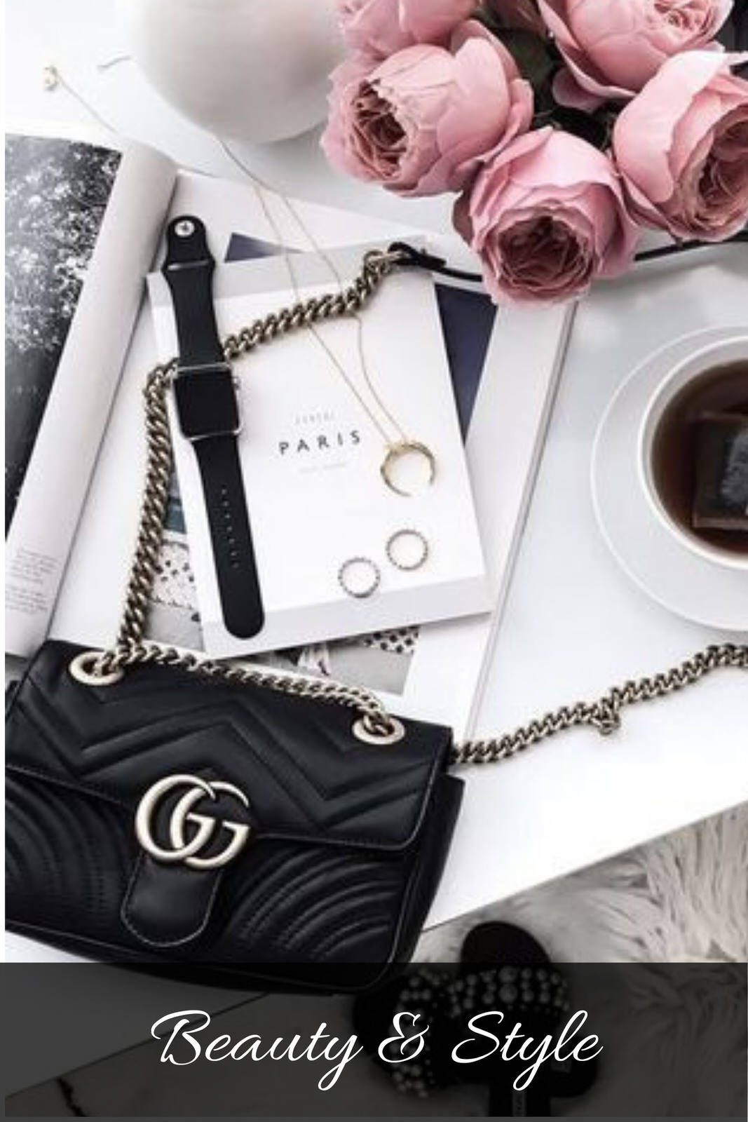 Flat lay with Black Gucci Handbag Apple Watch and Pink roses.jpg