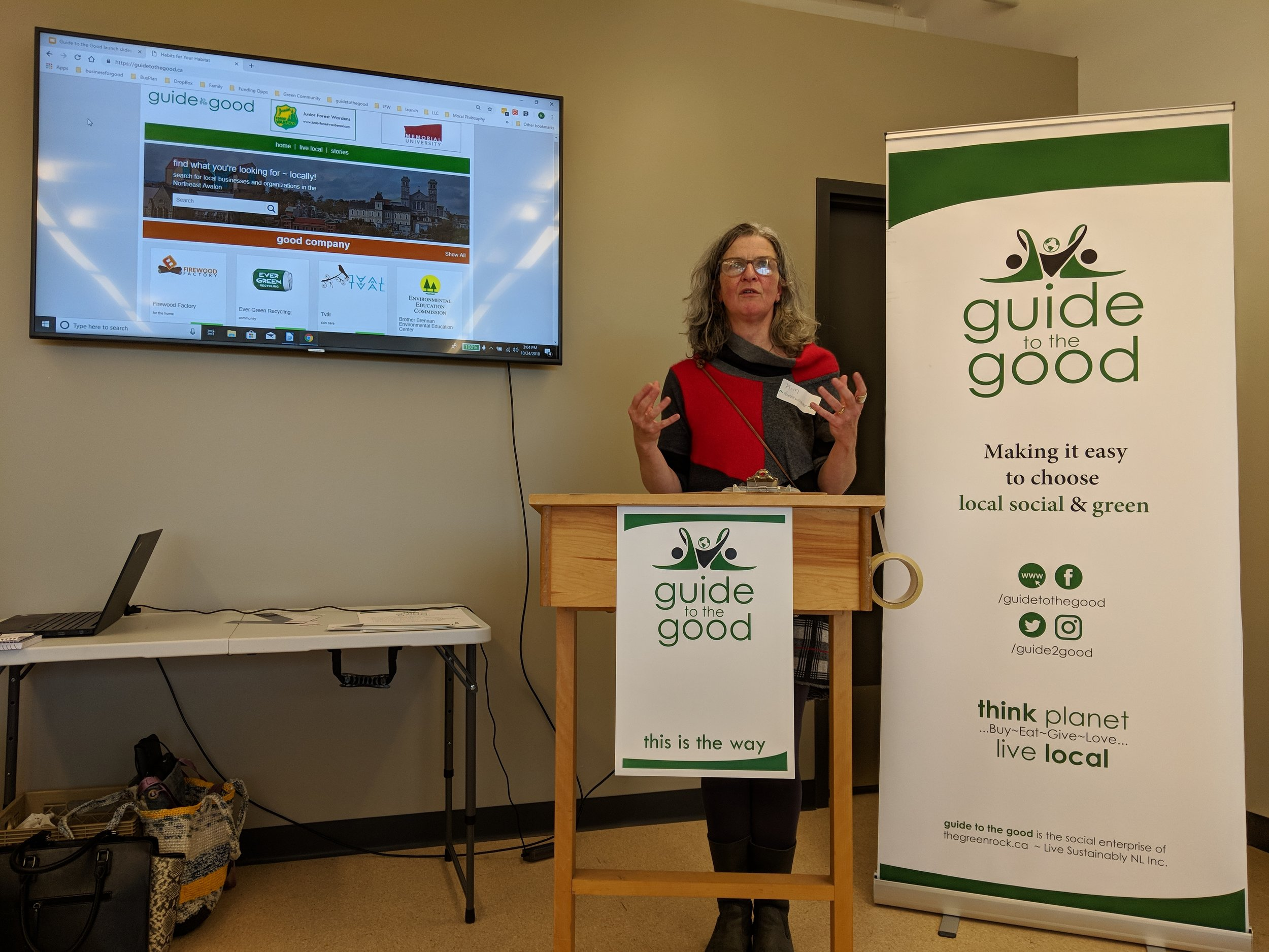 Kim Todd announced the launch of Social Enterprise  Guide to the Good  at special event at the St. John's Farmer's Market held October 24th 2018