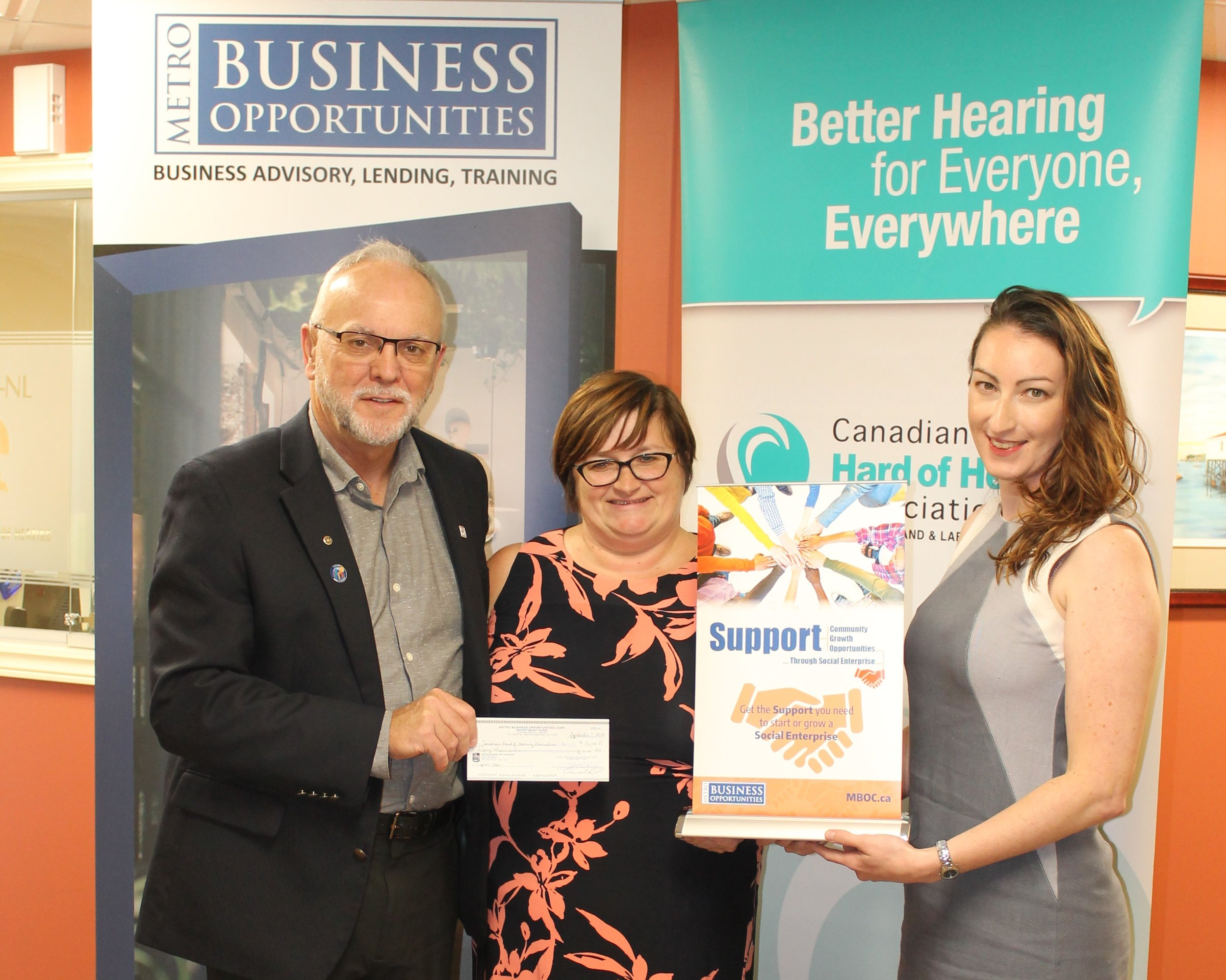 L-R, Leon Mills Executive Director of CCH-NL, with Bernadette Coady, Social Enterprise Coordinator with MBO, and Alison Butler, Coordinator of Education and Awareness of CHHA-NL.JPG