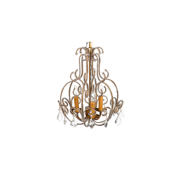 SMALL GOLD LAMP CHANDELIER, 3 BULB