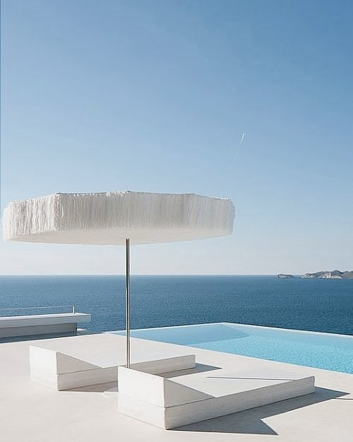 Unfortunately this images isn't mine.. But I don't think I have ever seen something so visually pleasing to my eye. The colours, shapes, POOL! Parasol! Beds.. everything in this image is my dream. A minimalists dream of vacation location. I mean.. hoping someone can tell me where this is?? So I can literally go there tomorrow. 😁 ( And also own this one day .. Manifest. Manifest. Manifest ) 💙👣🌠