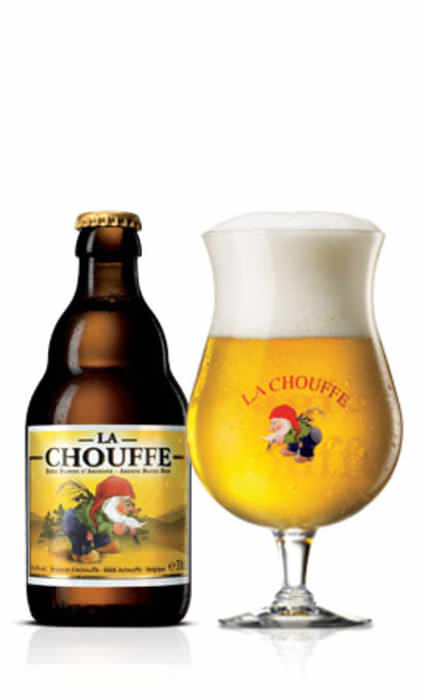 LA CHOUFFE   8.0% abv   A hazy, pale-golden brew with a frothy white head. A little spice, a touch of lemon, cinnamon, & light malts. Medium body, with a lasting finish.