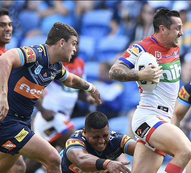 """""""We have the best seats in the house for your Saturday night footy plans! 3 PM @gctitans vs. @nrlknights 5:30 PM @manlyseaeagles vs. @storm 7:35 PM @sydneyroosters vs. @penrithpanthers"""""""