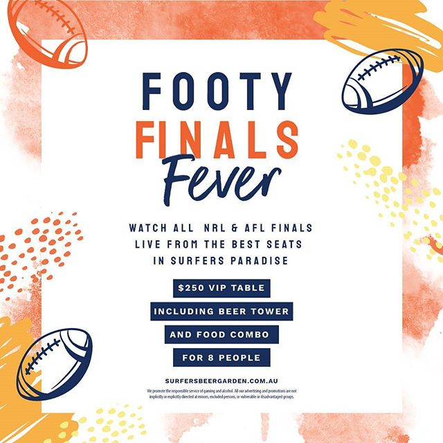 Watch ALL the NRL and AFL footy finals from the best seats in Surfers Paradise! Grab some friends and take advantage of our Footy Finals Fever offer!