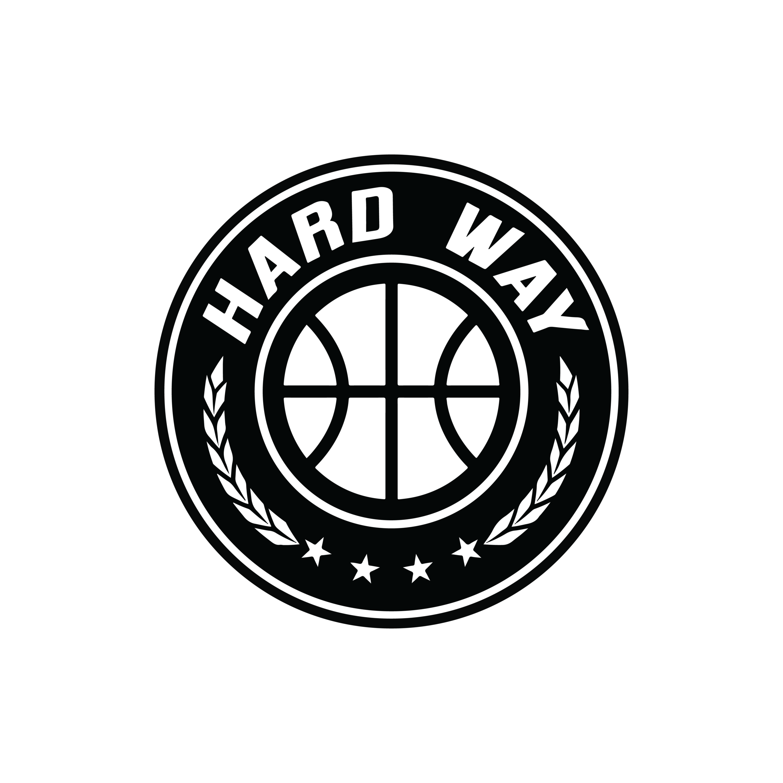 "The logo describes our basketball program. Everything worth having in life is worth attaining the "" Hard Way "". The 4 stars represent what we do; learn, give, play, live. The leaves represent the arms that wrap around our family. The ball needs no explanation."
