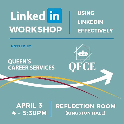 It's official! QFCE will be hosting a LinkdIn workshop alongside Queen's Career Services to bring you the very best in the business and make sure you're utilizing all of your online tools effectively! And of course you wouldn't want to miss out on free pizza 🍕 !!!!