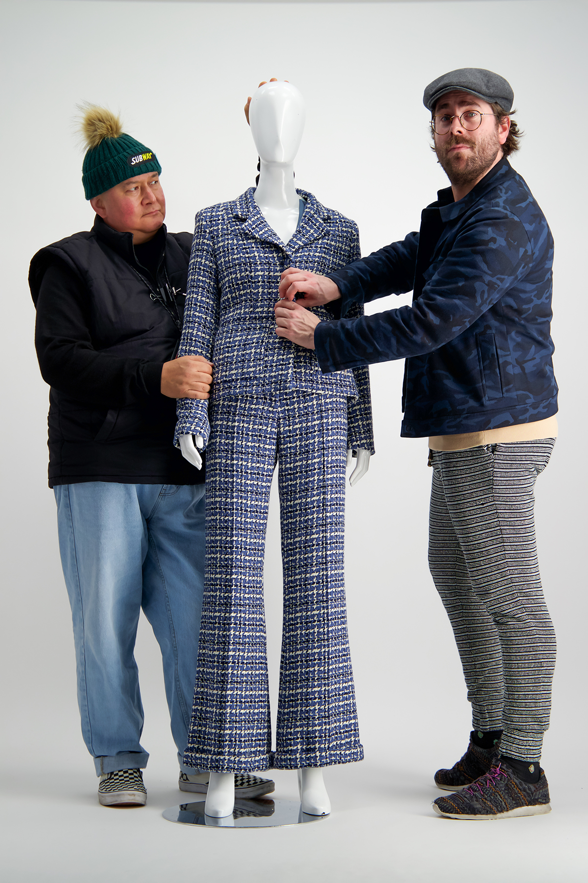 WORLD founder Francis Hooper (L) & WORLD Director & Designer Benny Castles (R) put the finishing touches to an outfit.