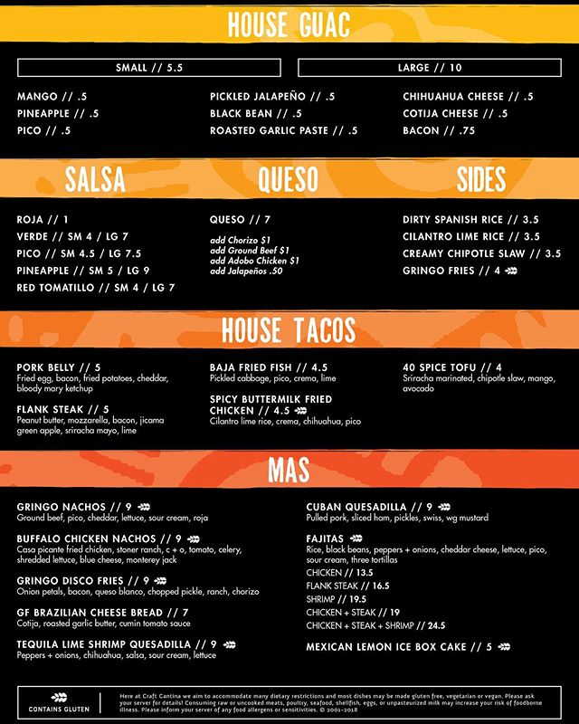 Come enjoy #craftcantina today! Here's a look at our amazing menu! You can also build you own Tacos, Burritos or Bowl! #tacos #burrito #latinfood #cocktails #guacamole #akron #eatdrinkcravelatin