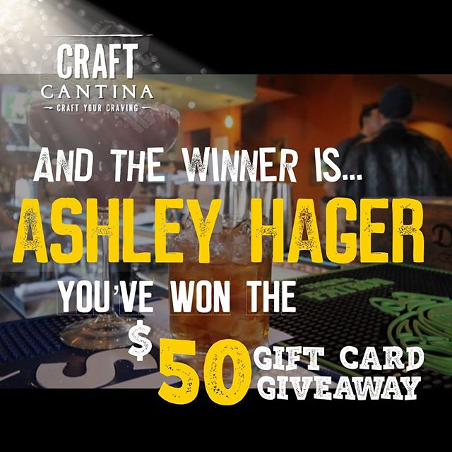 Congratulations Ashley Hager you've won the $50 Gift Card Giveaway! We'll reach out to you soon with information on how to claim your prize! Thanks to all who participated! #craftcantina