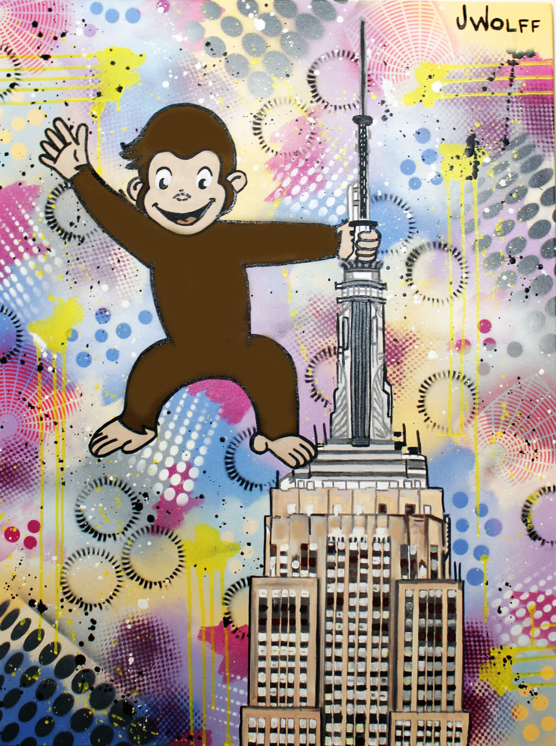 """King Curious George"" 30x40 inches JAcrylic and Aerosol on Gallery stretched Canvas"