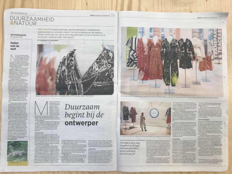 """30, January, 2019 """"Ook mode kan zero waste zijn: met kant van boomschors en stof van douchegordijn"""" from Trouw newspaper"""