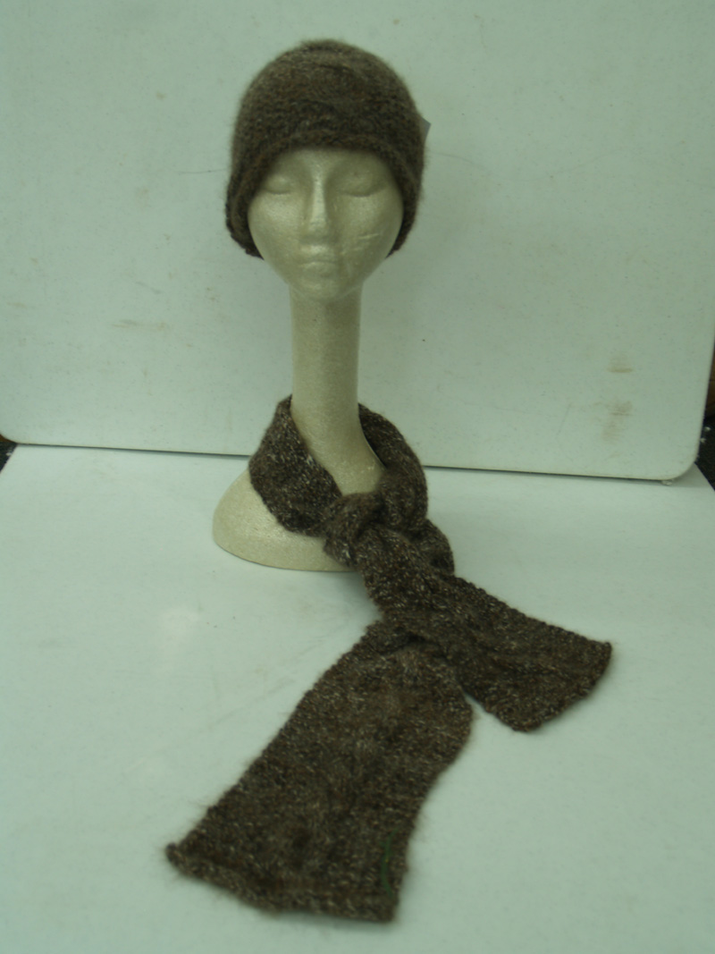 100% Hand-Knit Baby Alpaca Scarf and Hat Set