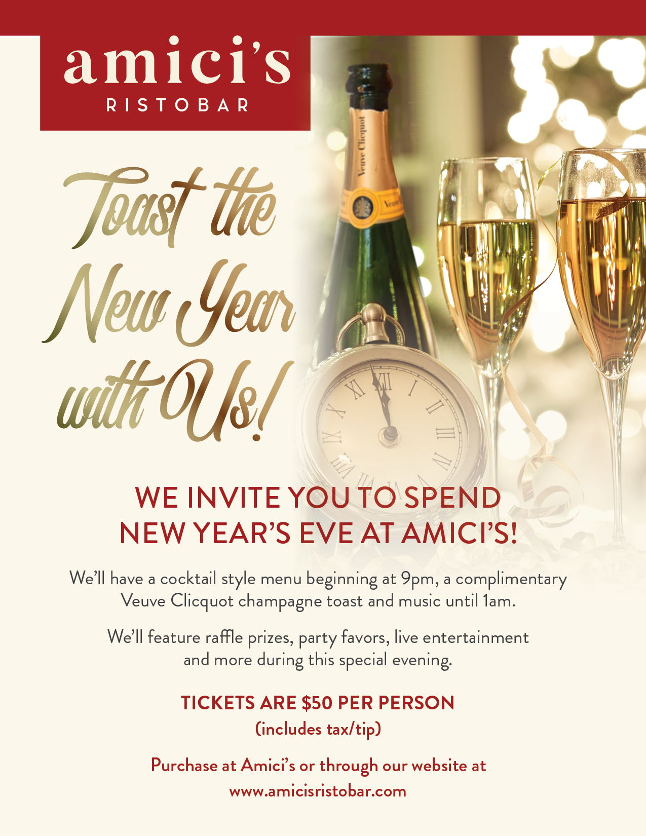 Celebrate the New Year with Amici's! - Click here for tickets
