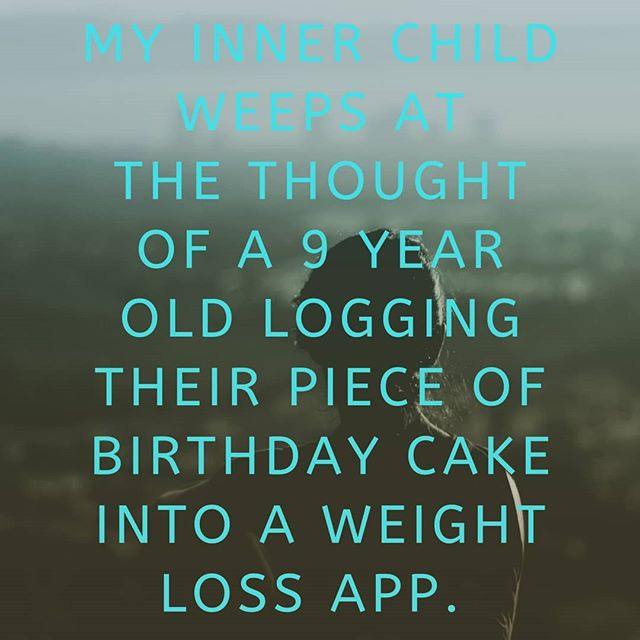 "Just picture this for yourself; you are out for a coffee and when waiting in line you hear a parent and child discussing what the child ""should"" order and then consulting an app, not their own body and brain, for feedback. Where do we draw the line?  #wakeupweightwatchers #bodyimage #intuitiveeating #haes #embodytherapygroup #bodypositive #bodyposi #allbodiesaregoodbodies #feminism #effyourbeautystandards #antidiet #selfcompassion #eatingdisorderrecovery"