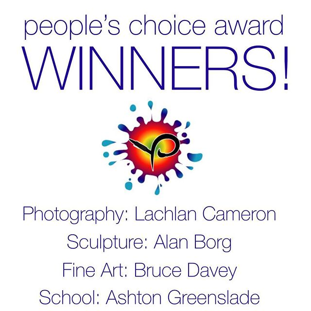 After a busy weekend with over 3000 people going through our exhibition venues we are please to announce and congratulate our People's Choice Award winners! - Photography: Wild and Free by Lachlan Cameron. Sculpture: Ocean Goddess by Alan Borg. Fine Art: Formby Bay from Daly Head by Bruce Davey. School: Zendaya by Ashton Greenslade.