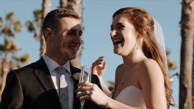 Matt & Lindsay share drinks after the ceremony.