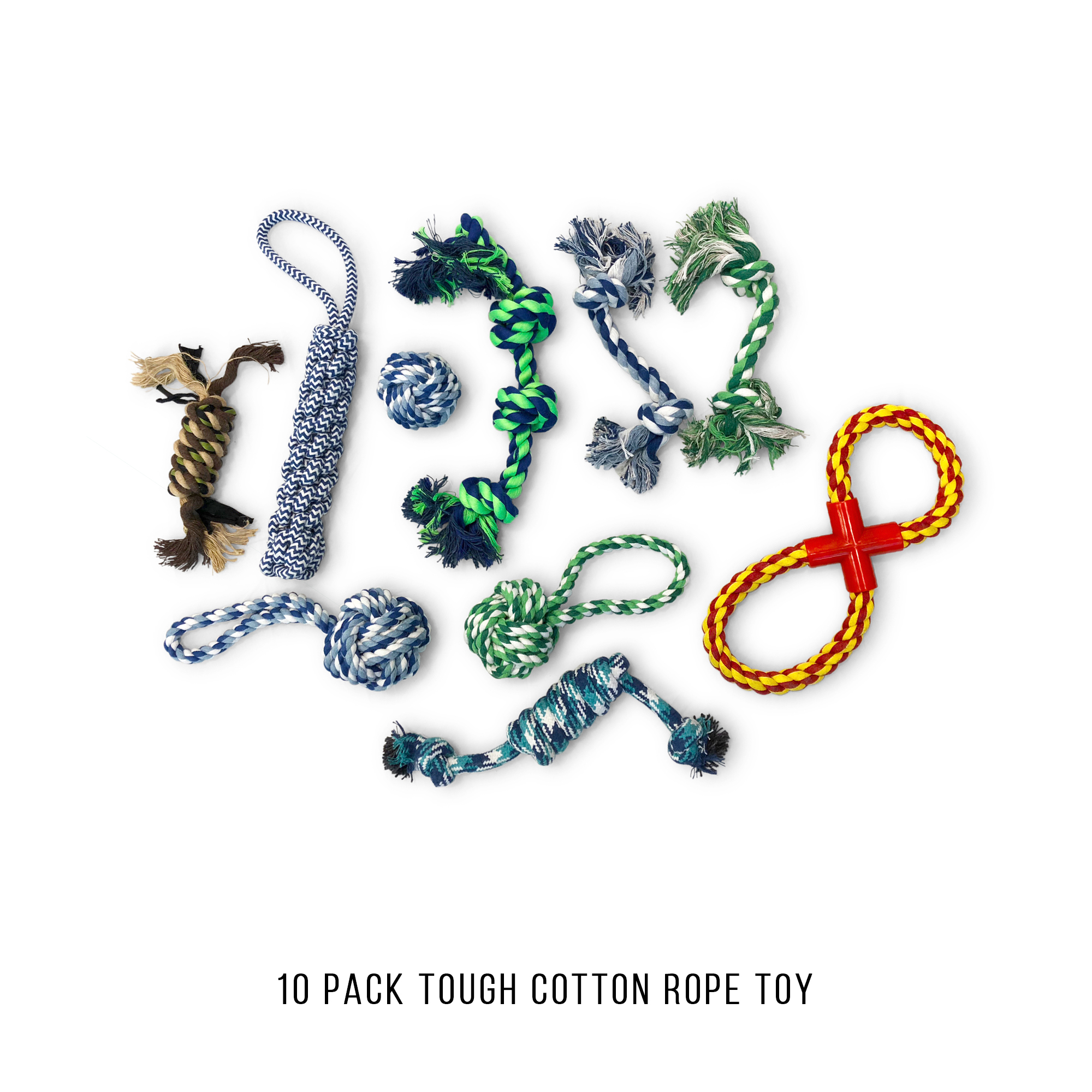 Pet Craft Supply Tough Durable Thick Washable Cotton Rope Chew Fetch Tug Interactive Teething Dental Flossing Teeth Cleaning Dog Toys for Aggressive Chewers or Puppies Pack of 10