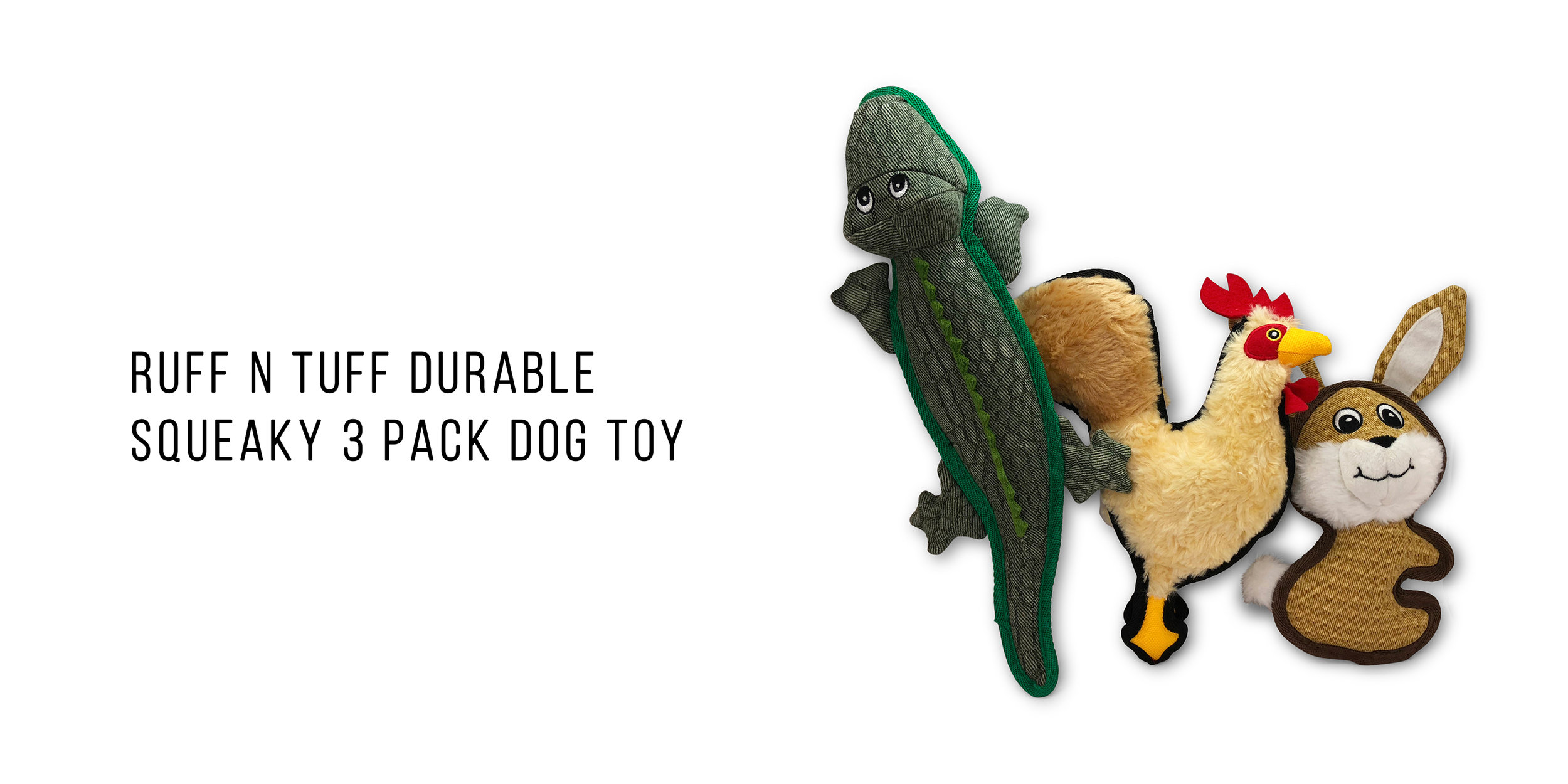 Pet Craft Supply Super Ruff N Tuff Plush Dog Toy Animal Assortment 3 Pack Tough Strong Durable Squeaky Dog Toy