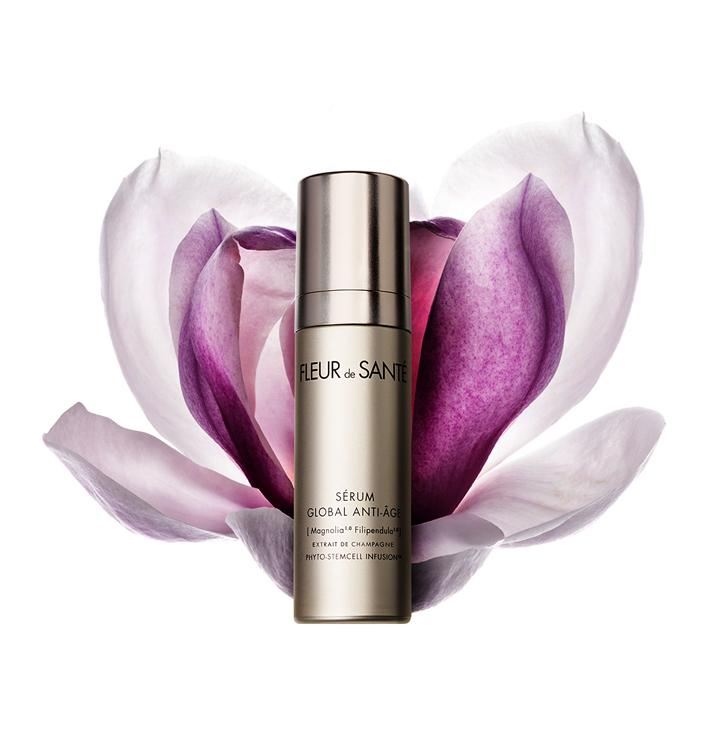 GLOBAL ANTI-AGING CONCENTRATED SERUM - With a luxurious texture, this state-of-the-art serum with global anti-aging action visibly transforms skin by targeting cellular DNA for more youthful skin results. Corrects all signs of aging thanks to the exclusive actives of [Magnolia Filipendula] Extrait de Champagne Phyto-StemCell Infusion by Fleur de Santé.