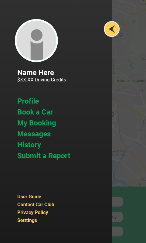 Car Club App Mock up -Side bar