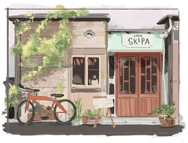 Colour study: 20/09/19 After finding a reference photo of this cafe, I got curious and googled it and found out it's now closed. 😔 would have loved to see it in person!