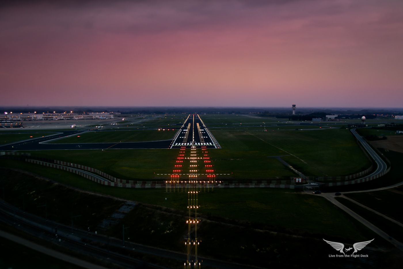 The above photograph shows what a pilot sees when on finals to land.