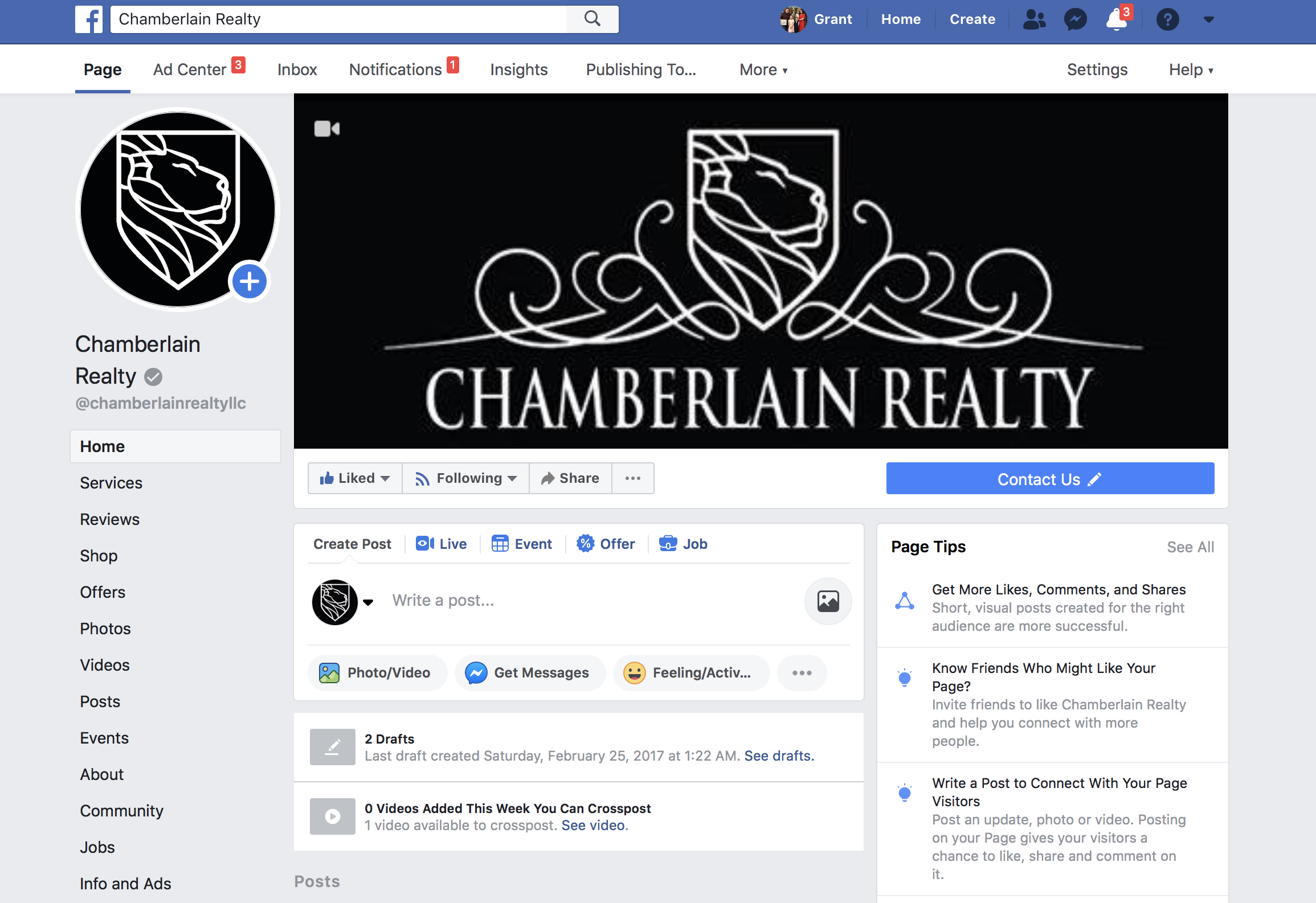 Chamberlain Realty Public Facebook Page - Our company hub to share with the public what's going on.