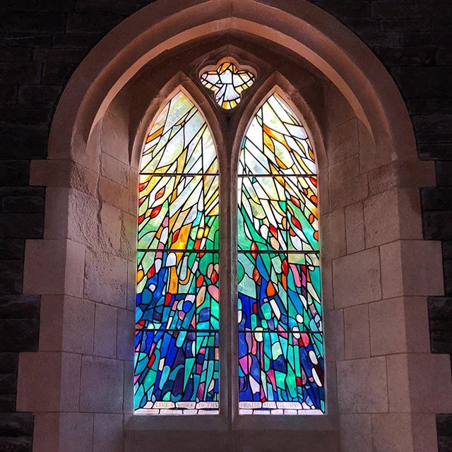 Today was the dedication of the Pentecost window in All Saints, Penarth in memory of Robert & Phyllis Berry. It was a great service and a privilege  to be part of. #stainedglass #glasspainting #contemporarystainedglass #allsaints #penarth #heritagecraft #ryanstainedglass